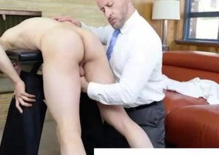 Older homosexual mormon in suit spanks and jerks young guy