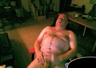 older man stroke and cum on cam