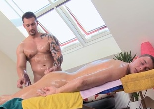 Twink is giving a delightful said stimulation of cute gay masseur