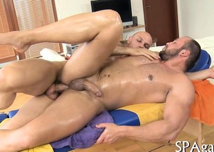 Hawt white hunk is enjoying a knead newcomer disabuse of darksome stud