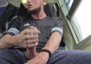 Straight guy Jerking his cock and cumming surpassing burnish apply train
