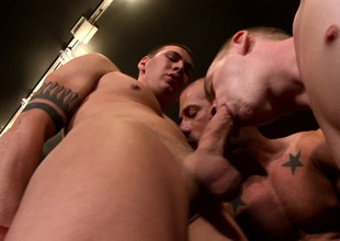 Hot foreman stud takes his comeback of hard cocks almost a wettish gay threesome