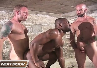 Muscled hunks Sam Swift, Troy Punk and Derek Reynolds engage in all-male oral and anal sexual congress