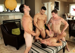 Four insatiable young dudes start playing with reference to each other's thick dongs