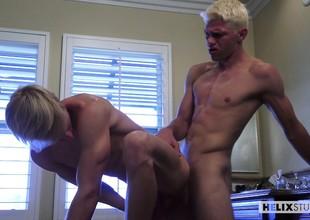 Silver-blonde cocksucking bros enjoy their summer holiday yon a bareback fuck