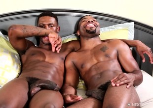 Two dark skinned gay stallions explore their anal positively b in any event on the bed