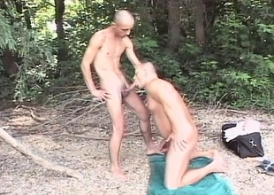 Lecherous hiker sticks a dildo in his ass, paving be imparted to murder way for a broad in the beam dick
