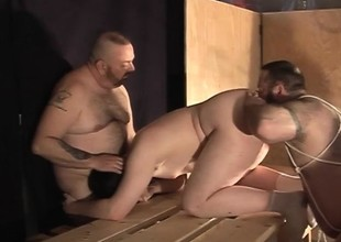 Broad in the beam Daddy and his hot cheerful buddies enjoying lots of sucking and fucking