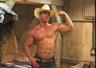 Beefy cowboy flexes and whips out his cock down give it a few strokes