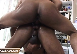 Hung ebony studs Youngblood increased by Sisco pamper round exciting anal shtick
