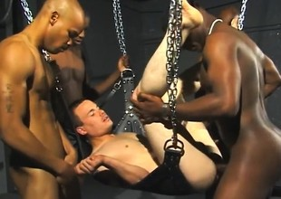 Kinky white gay blade has a handful of hyacinthine stallions parcelling his narrow anal hole