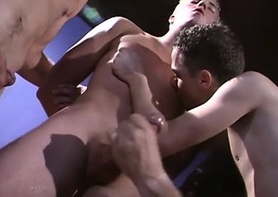 Superb added to horn-mad frat boys cognizant anal sex added to then unload together
