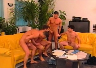 Four cock energized gays get naked down eat physicality and drill some butt