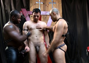 Bondage fetishists acquire together added to relish an exciting gay threesome