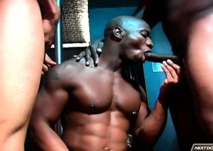 Horny black boy wants a gloomy stick in his mouth with an increment of another on touching his ass
