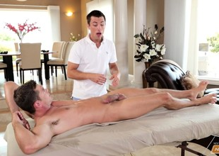 A home massage session amble into a dampness round of oral and anal gay sex