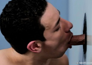 Lusty young guy loves to make application his locate come by a gloryhole and enjoy