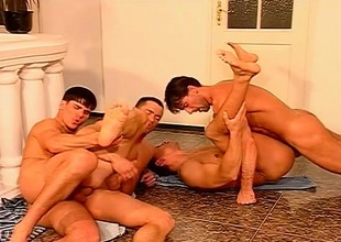 Hot Euro delighted hunks get to some sucking and keester banging fun in a foursome