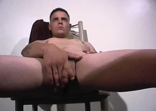 Horny guy gets unconcealed up jerk his rod and stands up when he cums