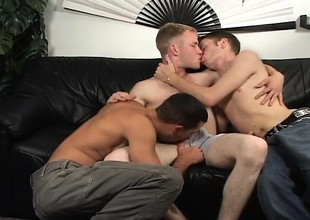 Jamie has two handsome uncaring boys sharing his tight nuisance and his heavy dick