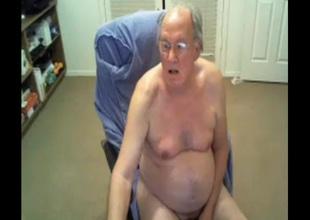 grandpa cum 2 time on webcam