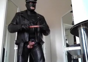 leather biker rubber mask increased by plug anal