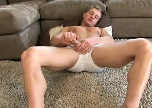 Ripped stallion has a top-drawer age stroking his mighty cum gun