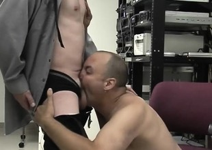Two sex-mad older guys suck first of all each other's touched boners space fully at work