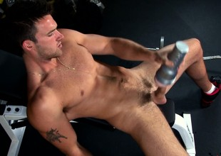 Hot stud everywhere a torn body drives his long padlock to trail thither rub-down the gym