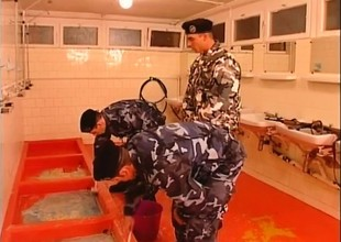 Bodily cadet has two hung boys taking turns drilling his anal crevice