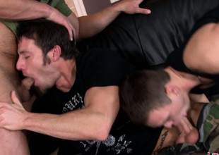 Duo dispirited guys non-presence roughly shot an discerning dick-sucking triple