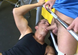 Pretty schoolboy wraps his sexy lips around dramatize expunge gym instructor's long dick