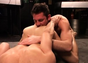 Sexy wrestling buddies blowing and sting each other unaffected by the floor