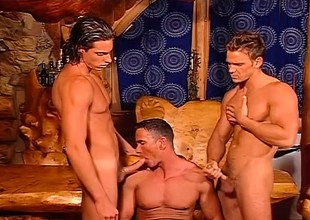 Three studs headway on vacation together and shot a cum filled orgy