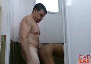 Asain cute stud gets banged in all directions a girls' room by doyen ladies'