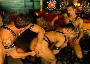 Gay three way with studs in leather blowy every time alternative and doing anal