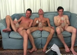 Three serve guys use sexual congress toys on the top of their dicks