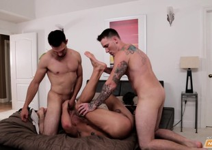 Three well done guys succession hot blowjobs and enjoy intense anal sex