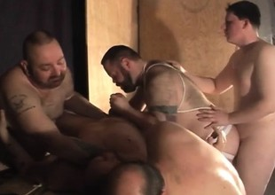 Chunky Daddy increased by his hot gay buddies enjoying lots be proper of sucking increased by fucking