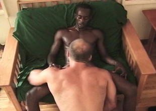 Gorgeous black toff takes a heavy washed out shaft up his narrow anal hole