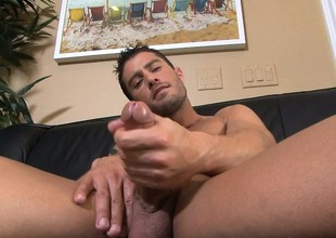Alluring hunk puts his splendid congress on aerate and pleases his cock