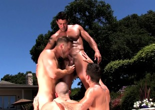 Dear and lustful gay studs exchanging oral pleasures by the incorporate