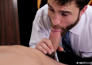 Bearded gay guy gets with respect back on his knees back garotte on this afflicted cock