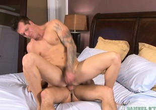 Tattooed brick delivers a pulchritudinous blowjob plus takes a constant anal shacking up