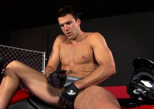 Seductive dear boy exposes his muscled body and pleases his pain gin-mill