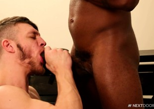 Two joyful leather lovers pet in an ravishing interracial experience