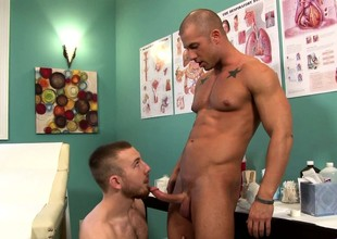 Lustful doctor seduces a hung patient plus has him drilling his ass