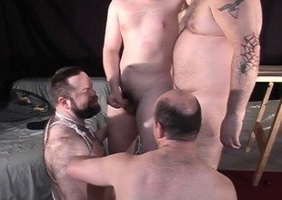 Big Daddy with the addition of his hot blithe buddies enjoying lots of sucking with the addition of shafting