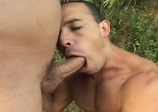 Elated Latinos are out in the woods chomping insusceptible to dick and nailing ass