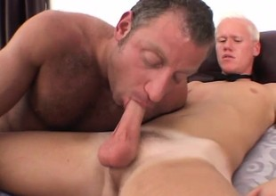 Twink gets shown how to suck and get properly ass fucked by an older gay